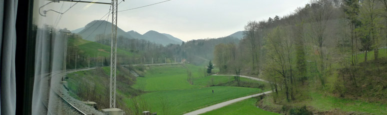 Scenery from the train between Zagreb and Vienna