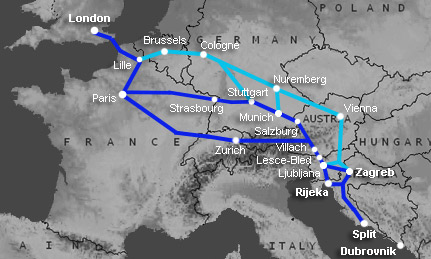 Route map:  London to Zagreb, Bled, Split, Rijeka by train