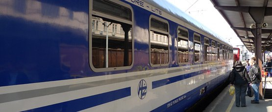 The 'Lisinski' sleeper train from Zagreb to Munich, at Zagreb main station