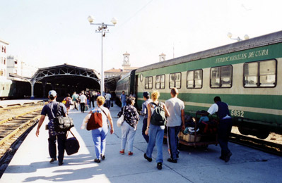 Train travel in Cuba:  A train from Santiago de Cuba arrives in Havana