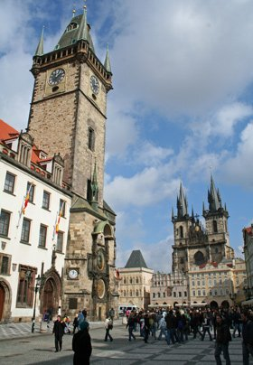 Visit Prague by train - the old town square