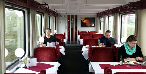 Restaurant car on train EC277 from Prague to Budapest