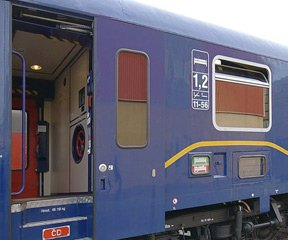Czech sleeping-car as used on the train from Prague to Krakow