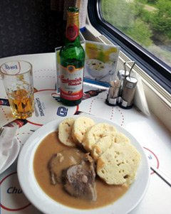 A meal on the train from Munich to Prague - far more civilised than the bus!