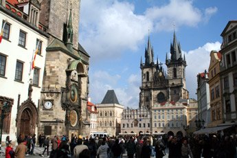 Main square and cathedral, Prague