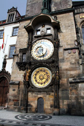 Take the train from Amsterdam to Prague!  The famous clock on Prague's main square