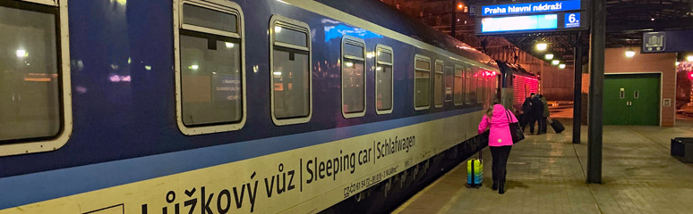 The Prague to Zuirch sleeping car boarding in Prague