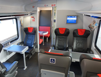 1st class seats on a Czech Railjet train