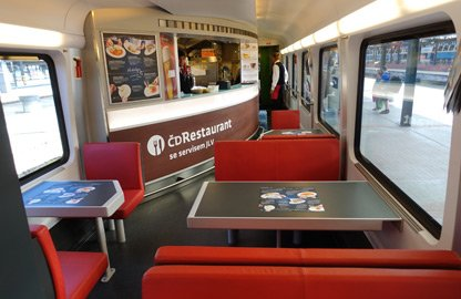 Restaurant car on a Prague-Vienna railjet train