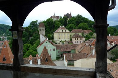 Sighisoara:  View of citadel from clock tower gallery.