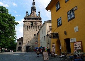 Clocktower & Vlad the Impaler's birthplace at Sighisoara, Romania