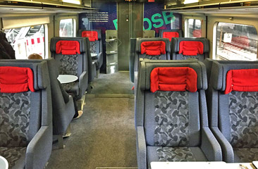 1st class seats on an IC3 train from Hamburg to Copenhagen