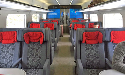 2nd class seats on a Danish IC3 train