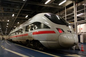 A Copenhagen to Hamburg EuroCity train on board the train ferry between Rodby & Puttgarten.