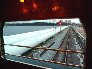 The Eastern & Oriental Express crosses the Causeway between Singapore and Malaysia