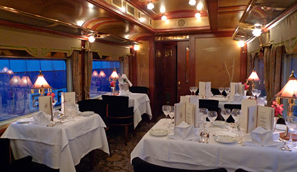 'Rosaline', one of the three dining cars owned by the Eastern & Oriental Express