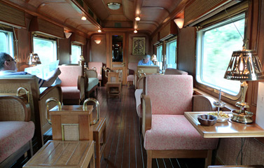 The lounge in the Eastern & Oriental Express observation car