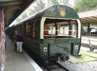 The Eastern & Oriental Express's observation car at the end of the train, at Singapore station