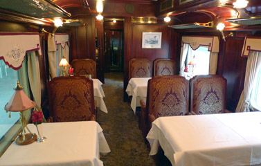 Saloon car, dining area