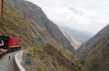 Train going over the Devil's Nose in Ecuador