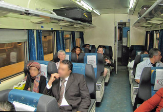 First class seats on a Cairo to Alexandria express train.