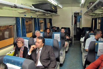 First class seats on an Egyptian 'Spanish' express train.