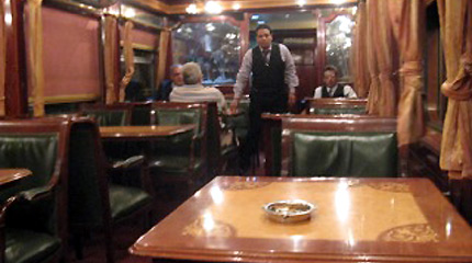 Lounge car on the Cairo-Luxor sleeper train