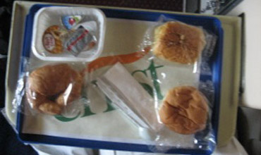 Tray breakfast on the sleeper train from Cairo to Luxor & Aswan