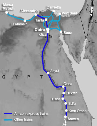 Train route map, Egypt