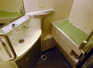 The baby-changing room on a Eurostar train