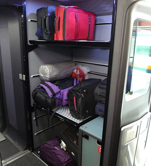 Luggage stack at the end of the coach on a typical train, in this case Eurostar...