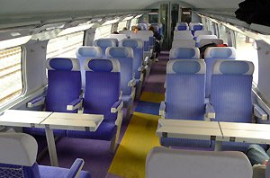 2nd class seats on top deck of a TGV Duplex