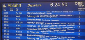 Train departures screen in Vienna