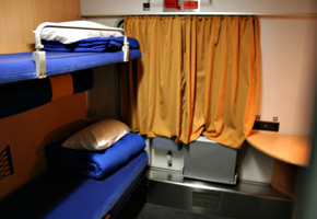Wheelchair-accessible couchette compartment on City Night Line sleeper train...