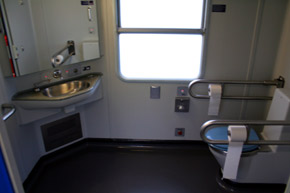 Wheelchair-accessible toilet on City Night Line sleeper train...