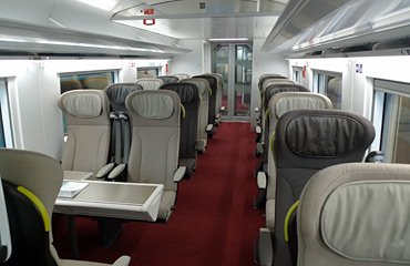 1st class seats on a refurbished e300 Eurostar