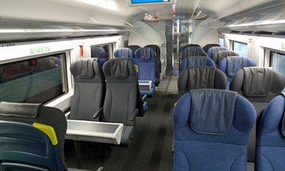 Standard class seats on a refurbished e300 Eurostar