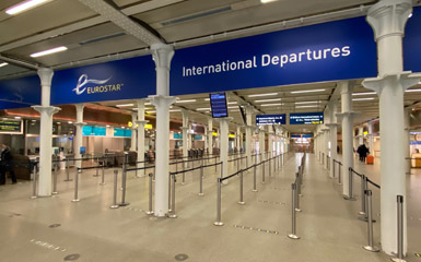 Entrance to departure area at London St Pancras
