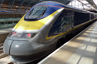 A Eurostar from London to Amsterdam