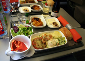 Complimentary hot lunch in Business Premier on a Eurostar train from London to Paris