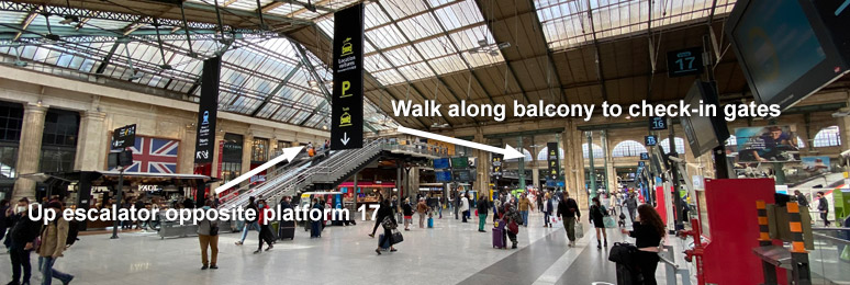 Location of Eurostar check-in at Paris Gare du Nord