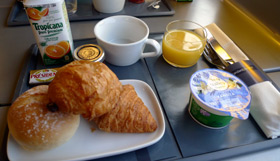Complimentary light breakfast in Standard Premier on a morning Eurostar train from London to Paris