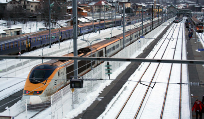 The Eurostar Ski Train at Bourg St Maurice...