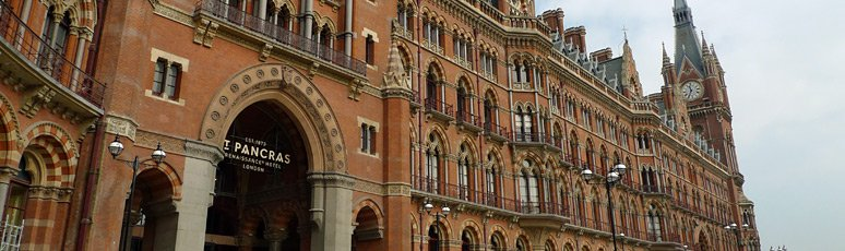 The gothic facade of London St Pancras