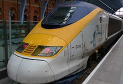 A Eurostar at St Pancras International...