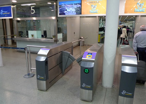 Eurostar check-in gates at St Pancras, at the entrance to the departure lounge...