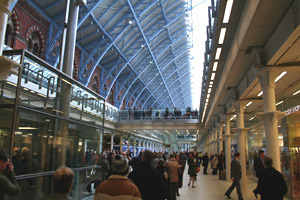 Inside St Pancras International:  Lower level concourse.  The trains are one level up.