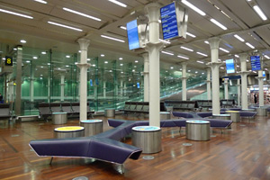 Inside the Eurostar departure lounge at St Pancras...