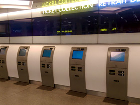 Self-service ticket machines at St Pancras:  You can collect your Eurostar tickets here...