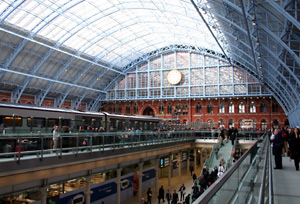 Inside St Pancras International:  Upper level concourse showing William Barlow's magnificent 1868 trainshed...